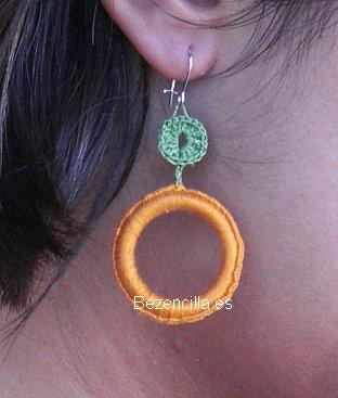 """Pendientes """"Gema"""" ganchillo naranja y verde"""