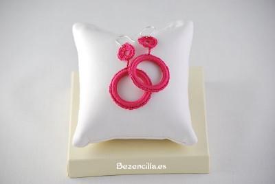 pendientes ganchillo rosa mediano
