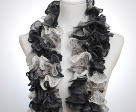 Black, grey and white ruffled scarf