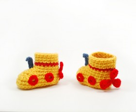 Yellow Submarine Baby Booties for Cara